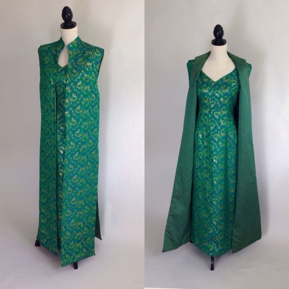 50s brocade full length evening gown with a matching sleeveless overcoat or vest The long vest has a mandarin collar Beautiful, richly