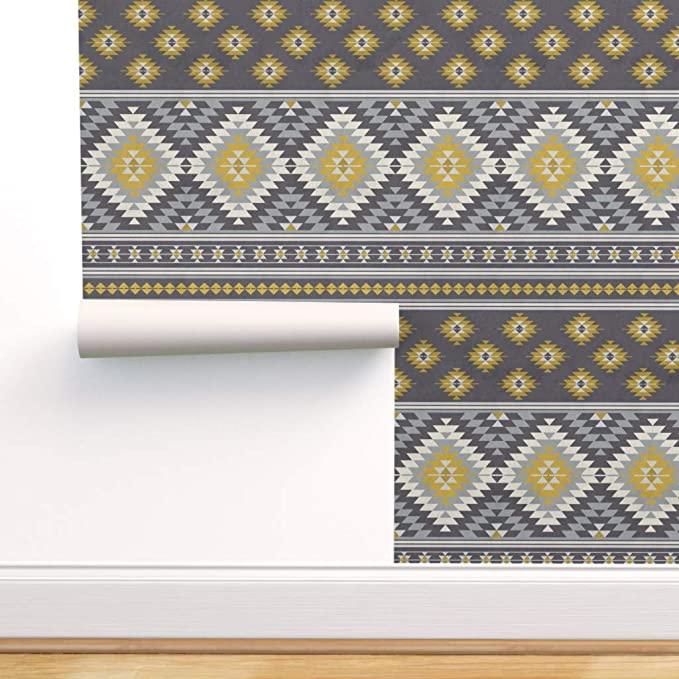 Peel And Stick Removable Wallpaper Bohemian Boho Chic Aztec Oriental Mustard Yellow Neutral Colors By Delinda Gr Removable Wallpaper Wallpaper Roll Wallpaper