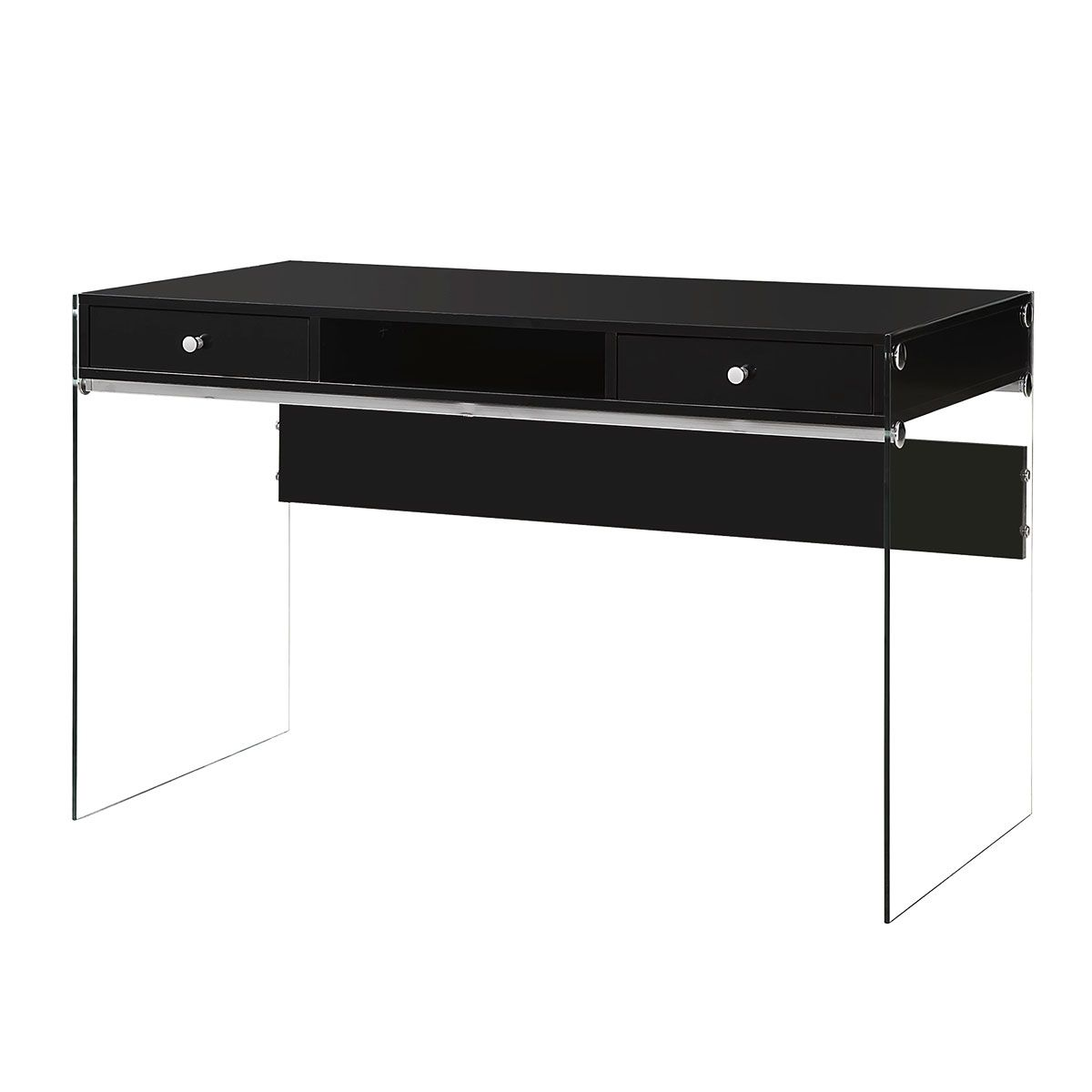 Best Modern Glossy Black Vanity Table With Glass Panels 400 x 300