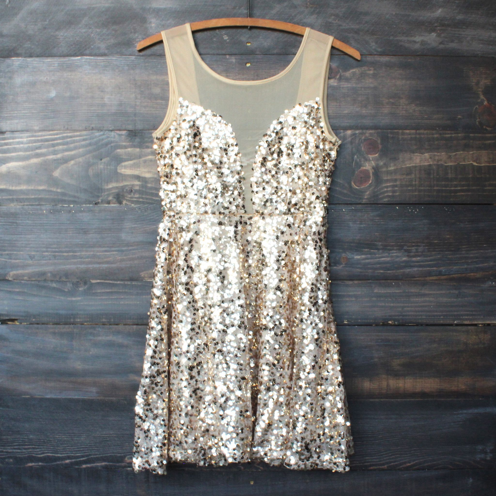Midnight rendezvous gold sequin darling party dress sequins gold