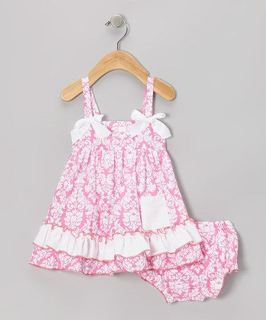 Take a look at this Pink Damask Ruffle Swing Top & Diaper Cover - Infant by Royal Gem on #zulily today!