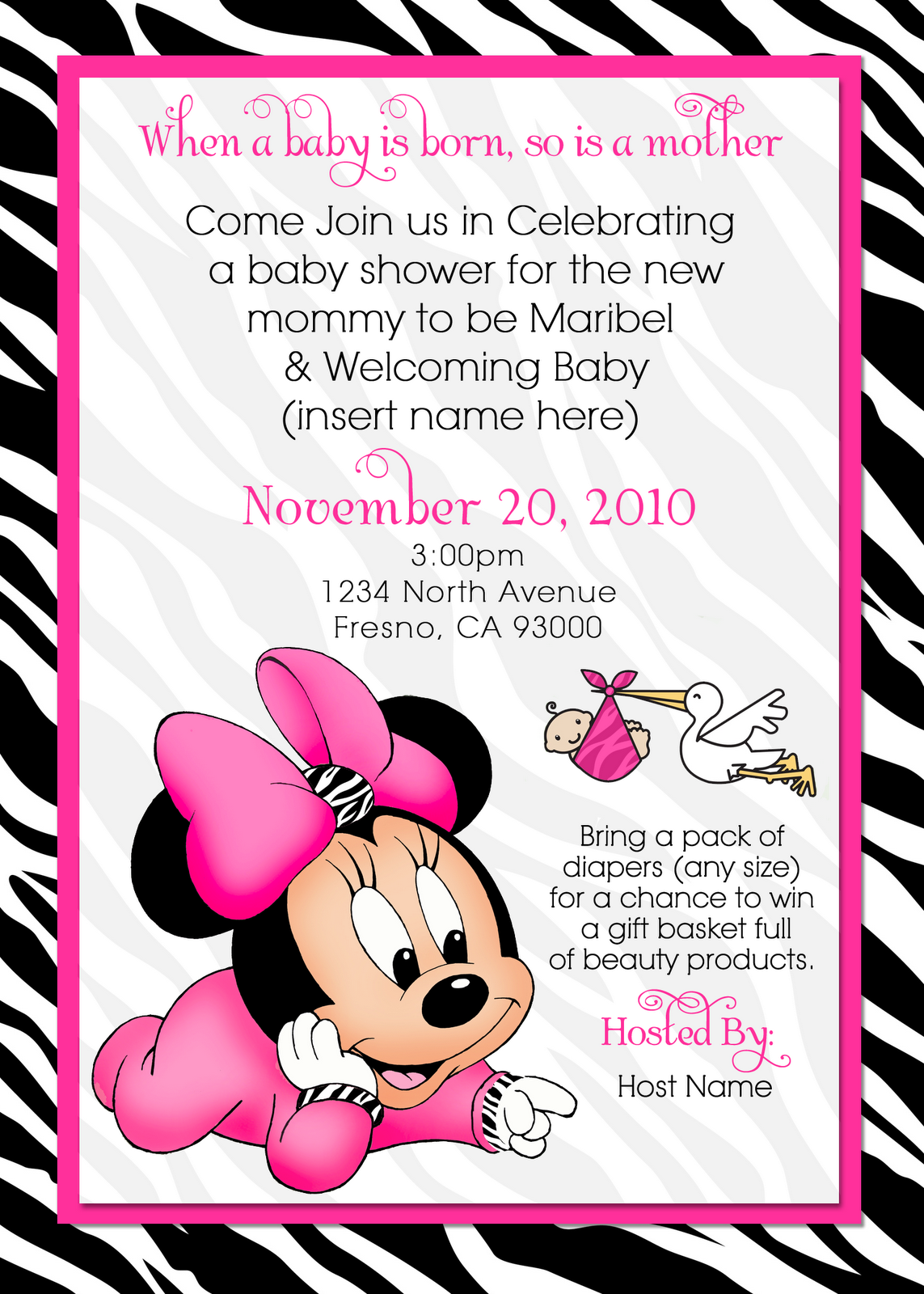 Waterbaby Designs Baby Minnie Baby Shower Invite In 2019