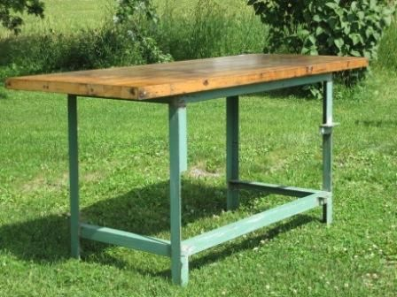 Walker Antiques Green Angle Iron Industrial Table With Butcher Block Top