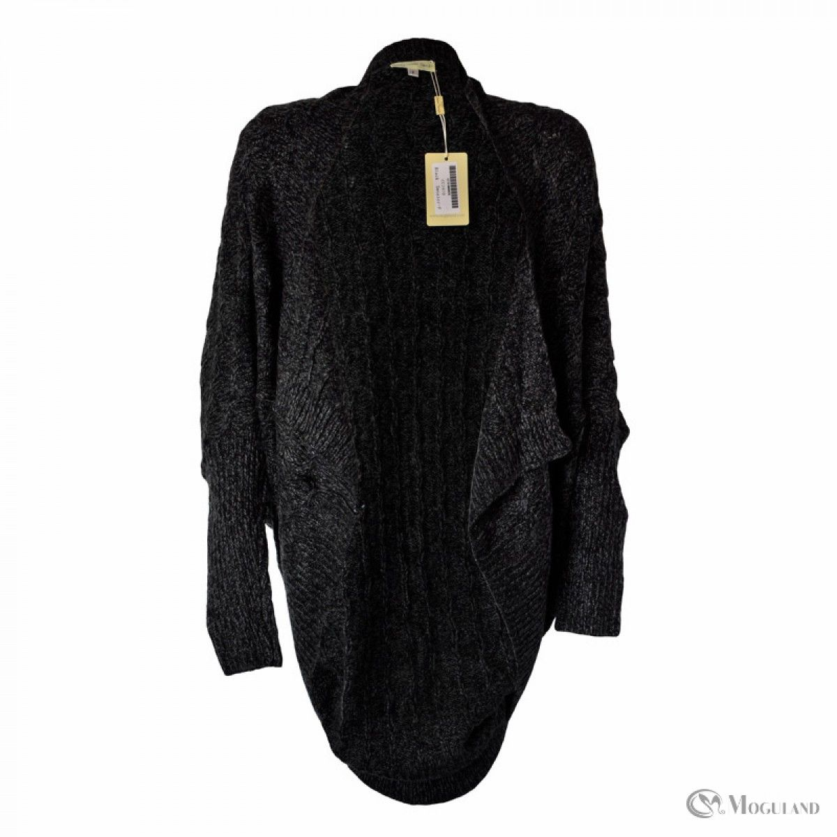 Ladies black chunky knit long sleeved slouch cardigan wholesale ...