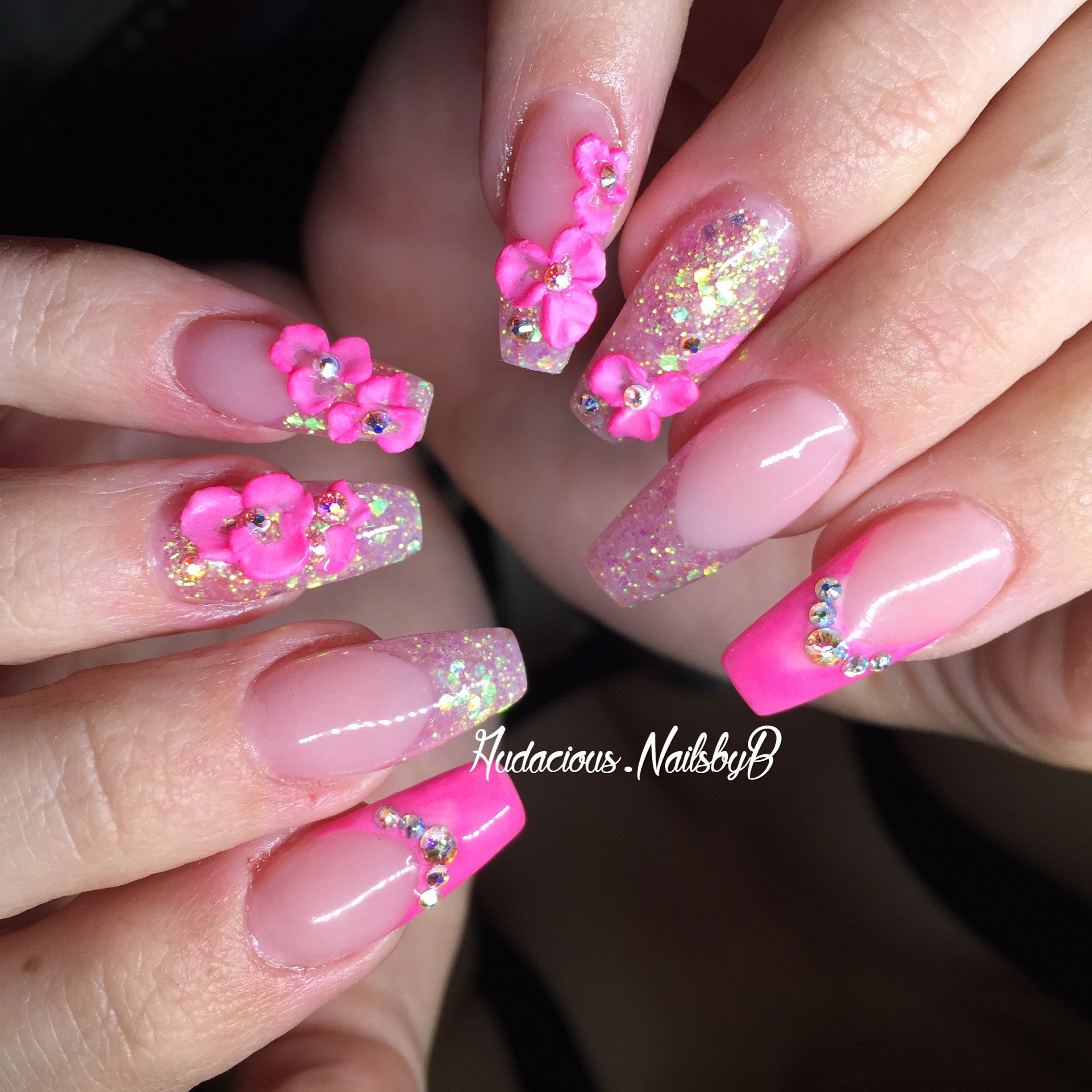Pink French tip 3D flowers Swarovski stones coffin acrylic nails ...