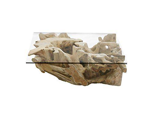 Teakwurzel Couchtisch mit Glasplatte 40x40 cm Couchtisch Teak