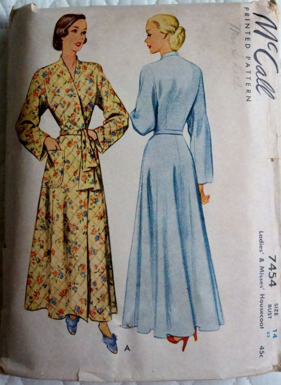 1940 s Womens Housecoat Bathrobe Vintage Sewing Pattern Simplicity ... 3bff59413