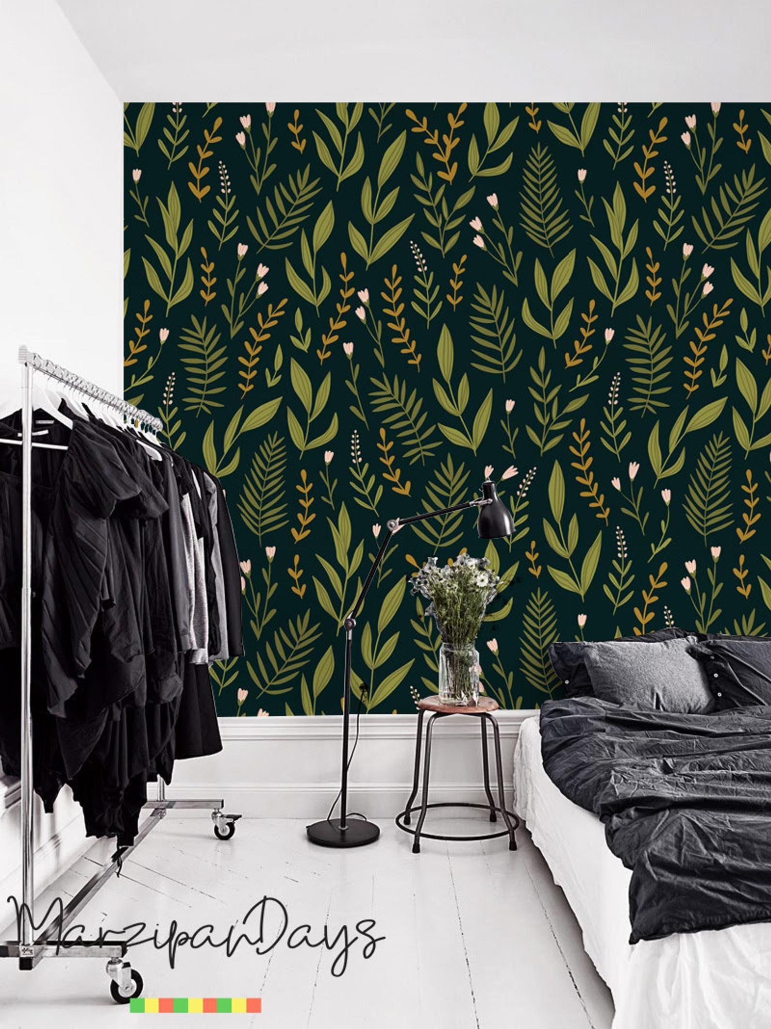 Herbs Dark Floral Wallpaper Botanical Wallpaper Removable Wallpaper Green Wall Decor Dark Floral Wall Mural Wall Decal Greenery 39