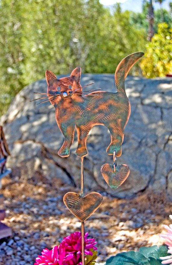 Cat Garden Stake / Outdoor Metal Garden Art / Copper Art / Yard Art / Cat  Metal Sculpture / Pet Memorial / Kitty Pet Lovers Gift
