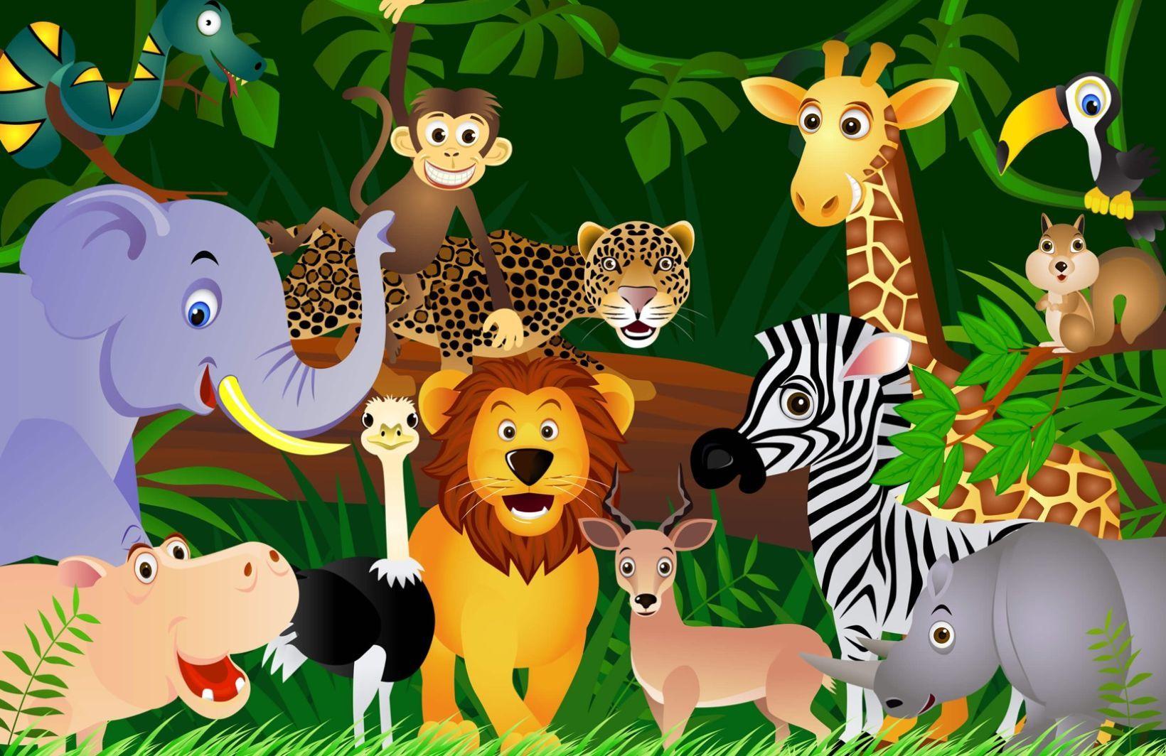 Jungle Animals Wallpaper Mural Hovia Uk Animal Mural Jungle Animals Mural Murals For Kids
