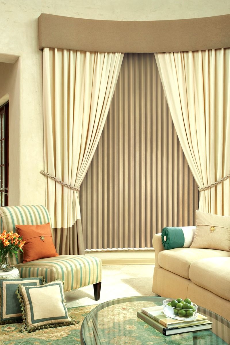 Neutral Love Vertical Blinds With Panels And Tie Backs