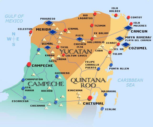 yucatan-map | travel | Akumal mexico, Merida mexico, Mexico tours