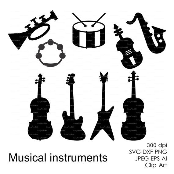 Musical instruments (eps, svg, dxf, ai, png) Vector ...