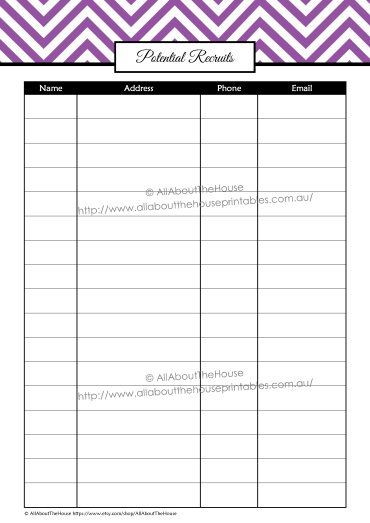 Potential Recruits contacts direct sales printable organizer half - direct sales resume