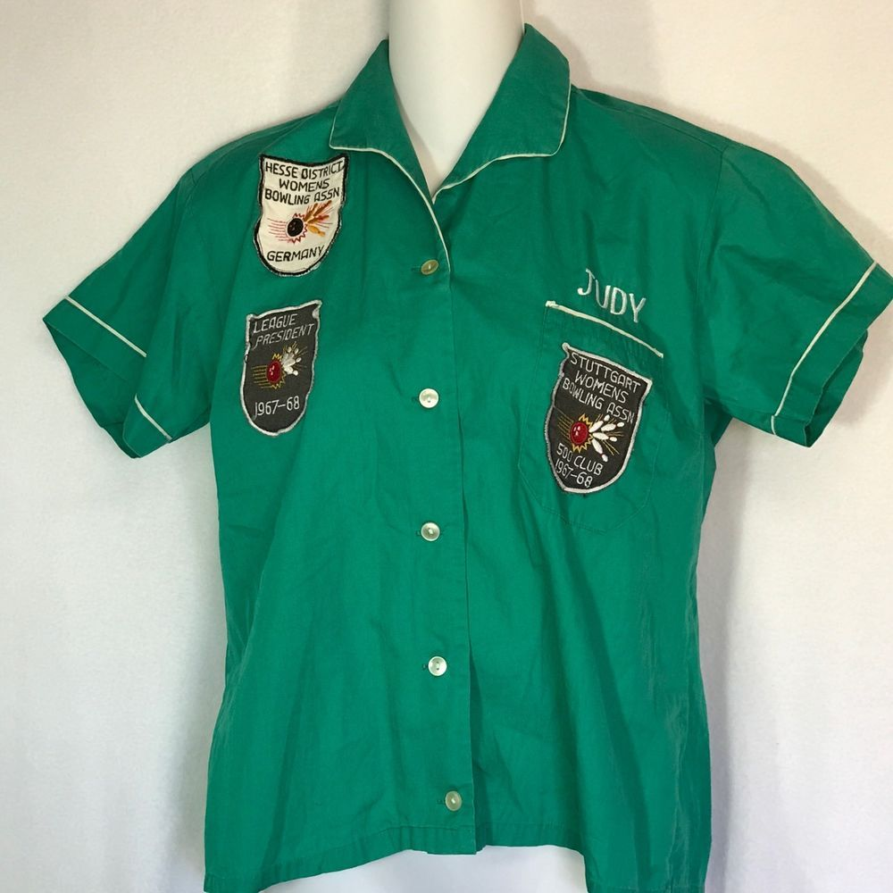 Vtg Smoky 60s Bowling Shirt Germany Patches Heilbronn Personalized Embroidery Casual