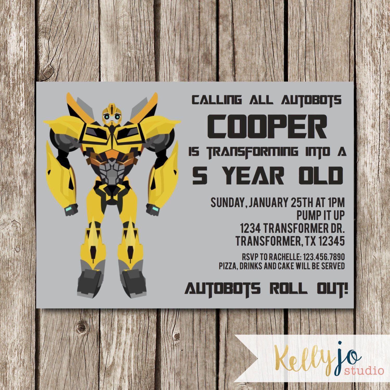 Transformer Bumble Bee Birthday Invitation Printable Digital Invitations Bee Birthday Party Bumble Bee Birthday Bee Birthday Invitations