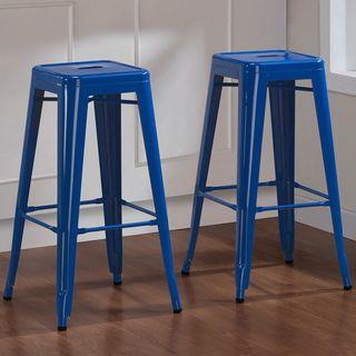 Tabouret 30 Inch Baja Blue Metal Bar Stools (Set Of 2) (Baja Blue)