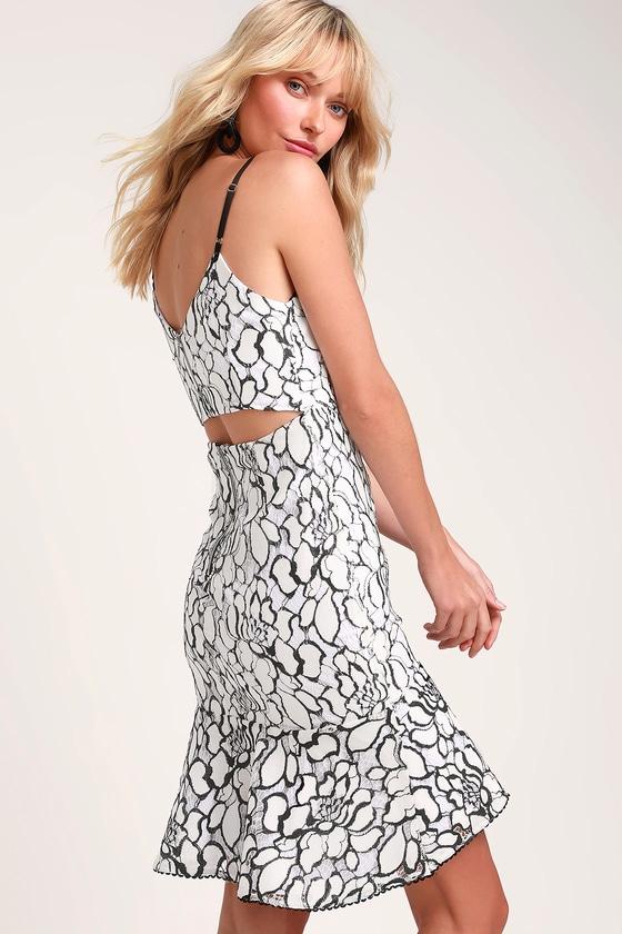 Addison Black And White Lace Cutout Dress Lace Cutout Dress Cutout Dress White Dresses For Women