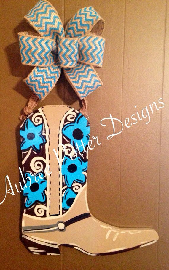 Custom Painted Rustic Western Cowboy Boot With Flowers Door Hanger On Etsy 40 00