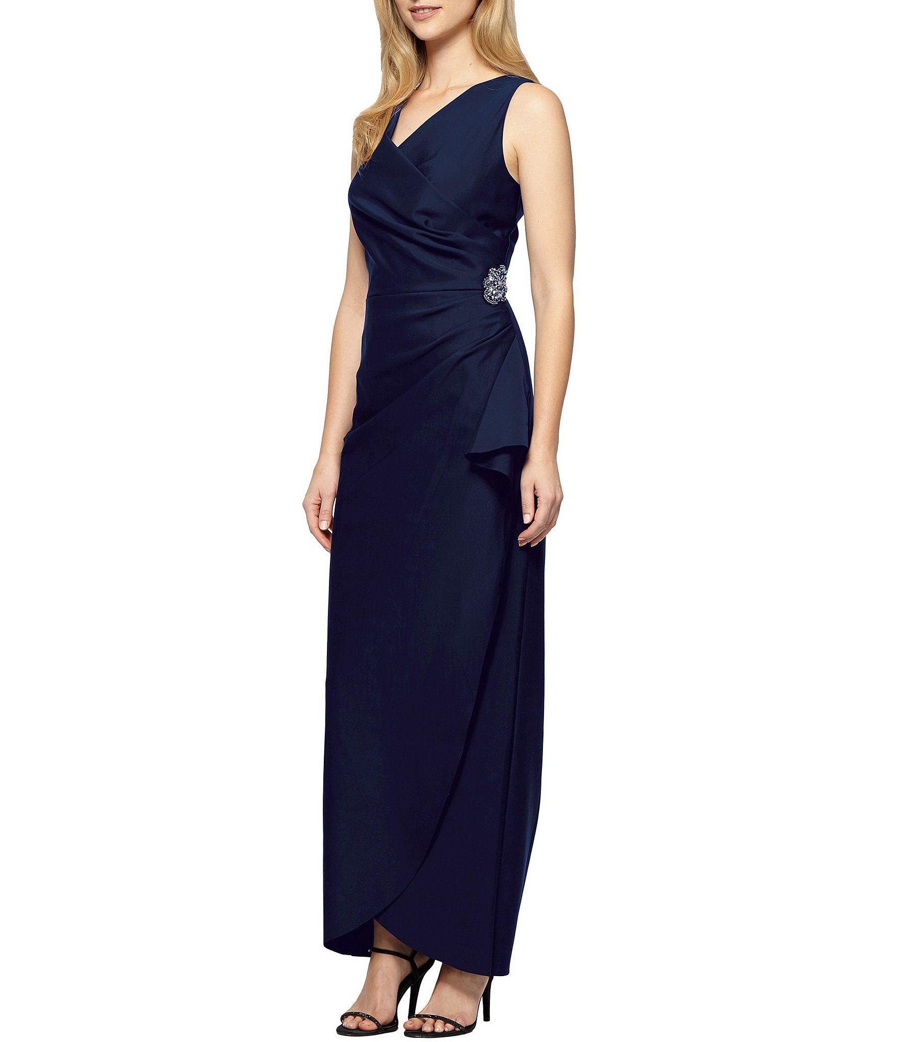 Alex Evenings Sleeveless Surplice Neckline Beaded Detail Sheath Dress #Dillards