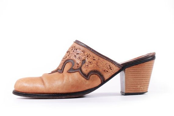 65ea26ab19a75 80s Vintage Tan Tooled Leather Mules Southwestern Hipster Chunky ...