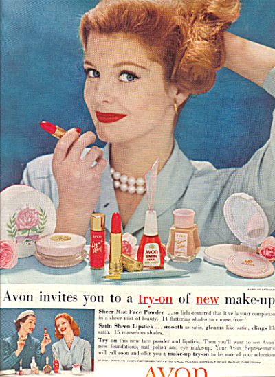 vintage avon ads | 1958 AVON Cosmetics FASHION Make Up AD (Image1)
