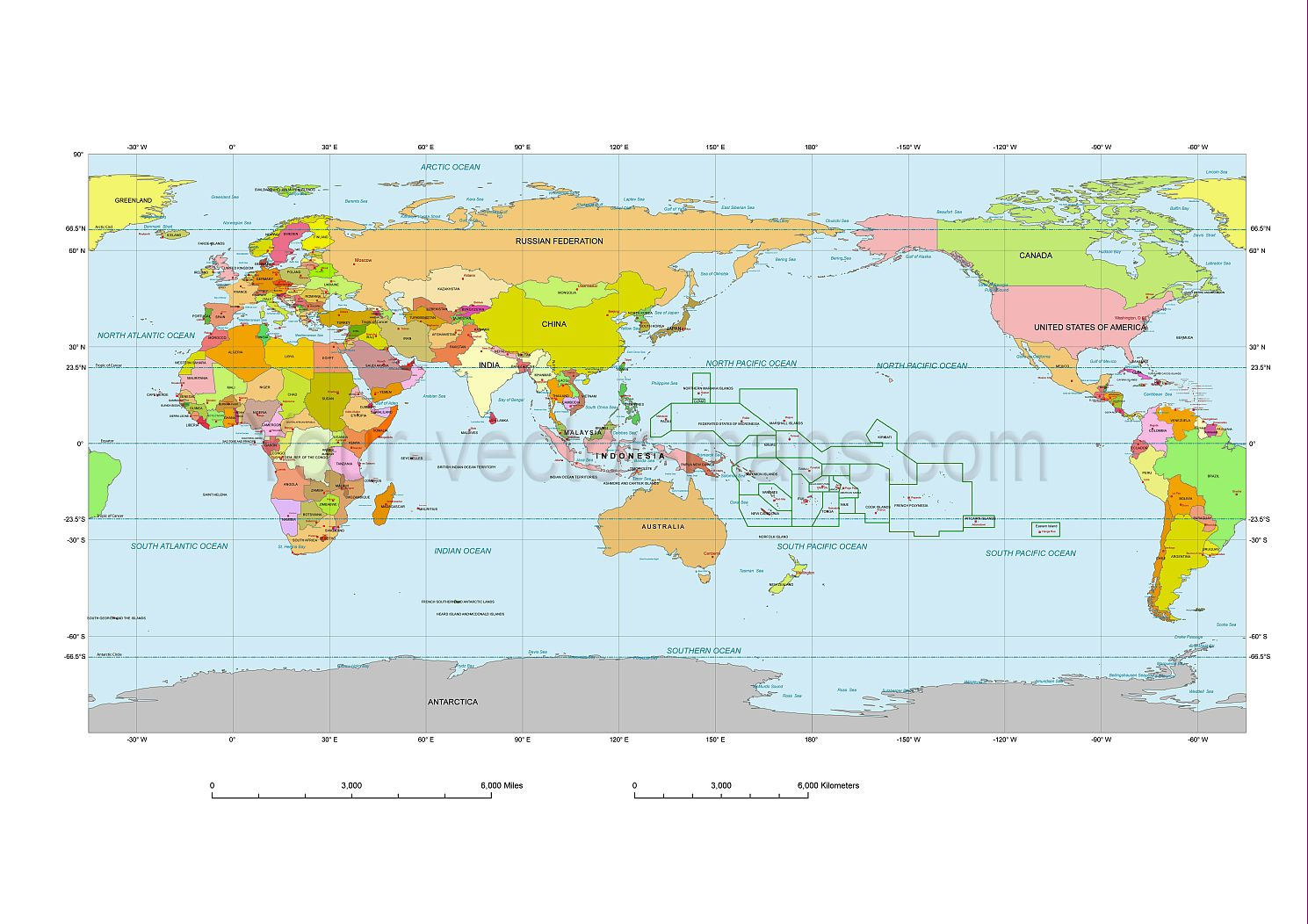Oceania centered colored map with country names map projections oceania centered colored map with country names gumiabroncs Choice Image