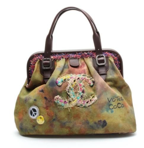 Chanel-Khaki-Canvas-Washed-Toile-Graffiti-On-The-Pavements-Bowling-Bag-15S-NEW