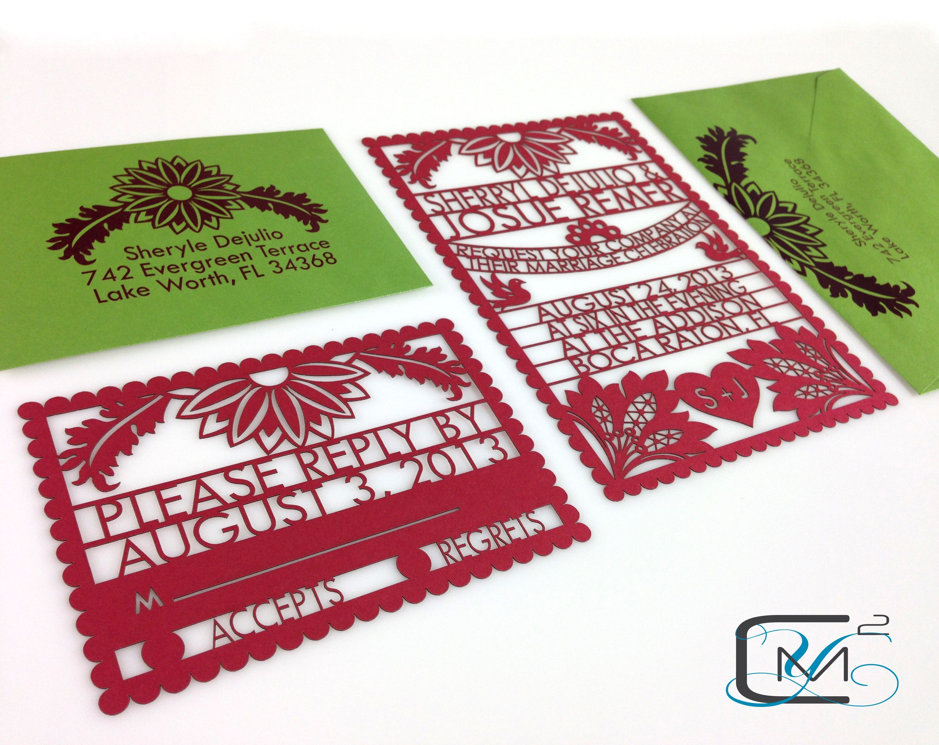 Custom Laser Cut Wedding Invitation, Mexican Themed wedding ...