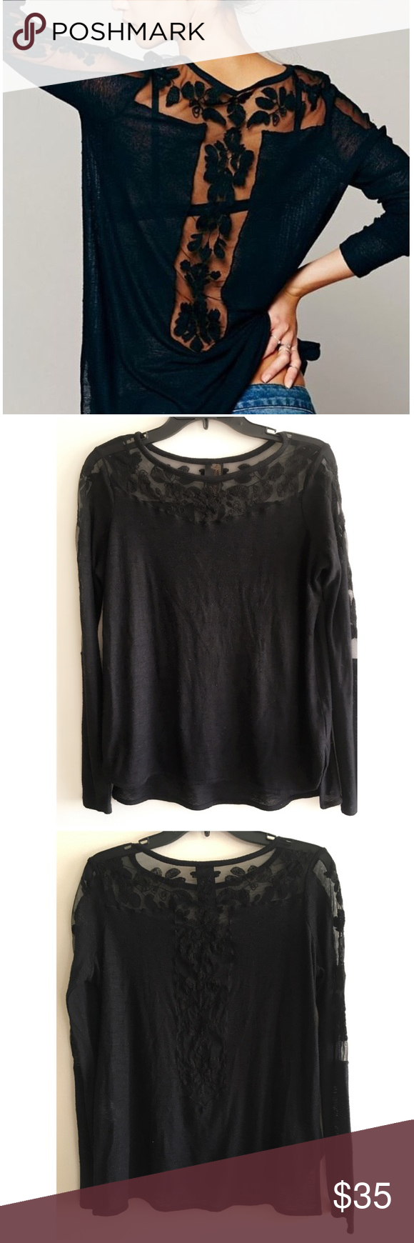 8dbb19fbb96e7d High Low Long Sleeve Round Neck Lace Blouse