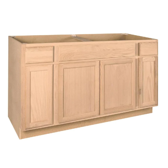 Project Source 60 In W X 35 In H X 23 75 In D Natural Unfinished Sink Base Stock Cabinet Lowes Com In 2021 Stock Kitchen Cabinets Unfinished Kitchen Cabinets Stock Cabinets