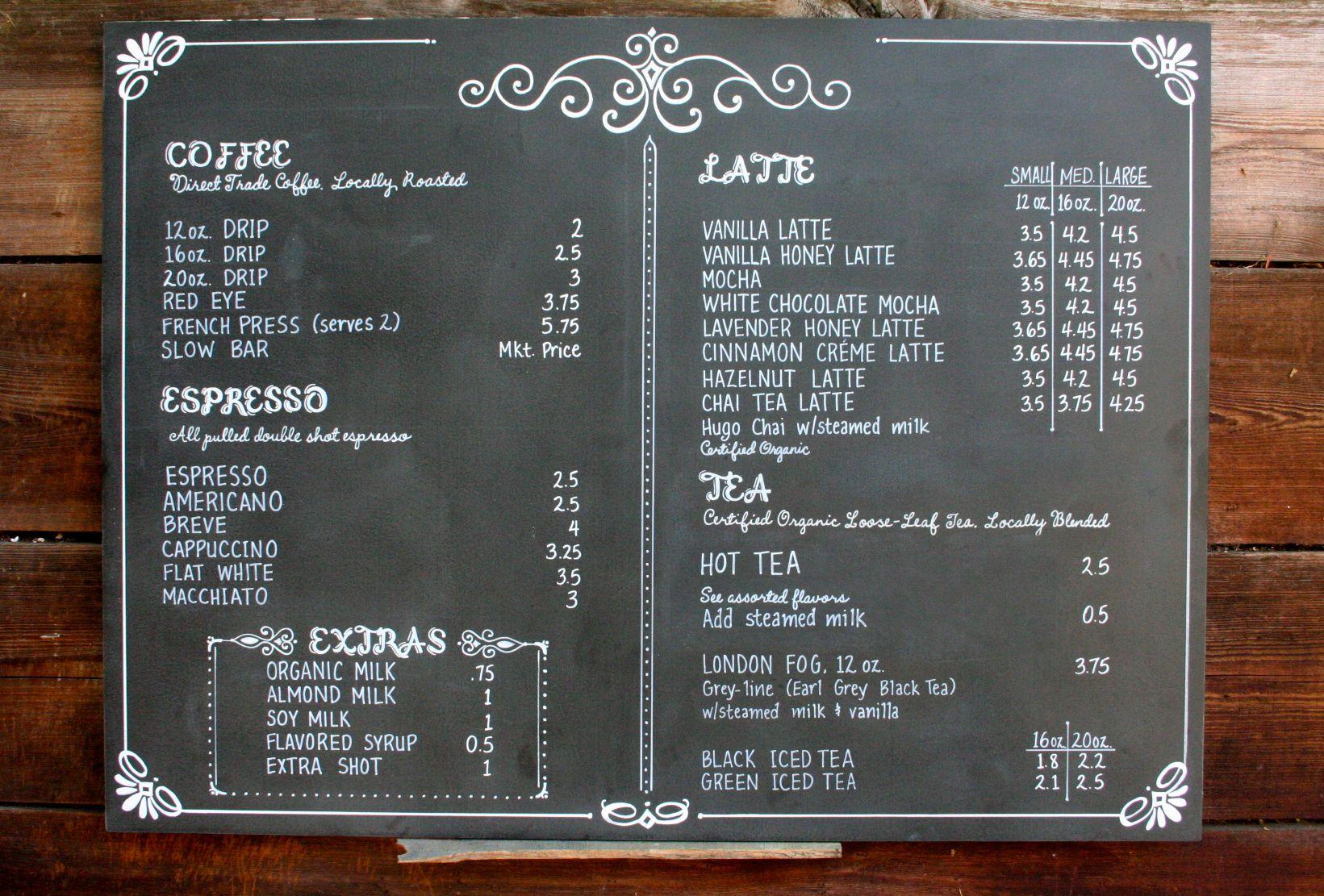 Chalkboard coffee shop menu for POUR coffeehouse in Kansas