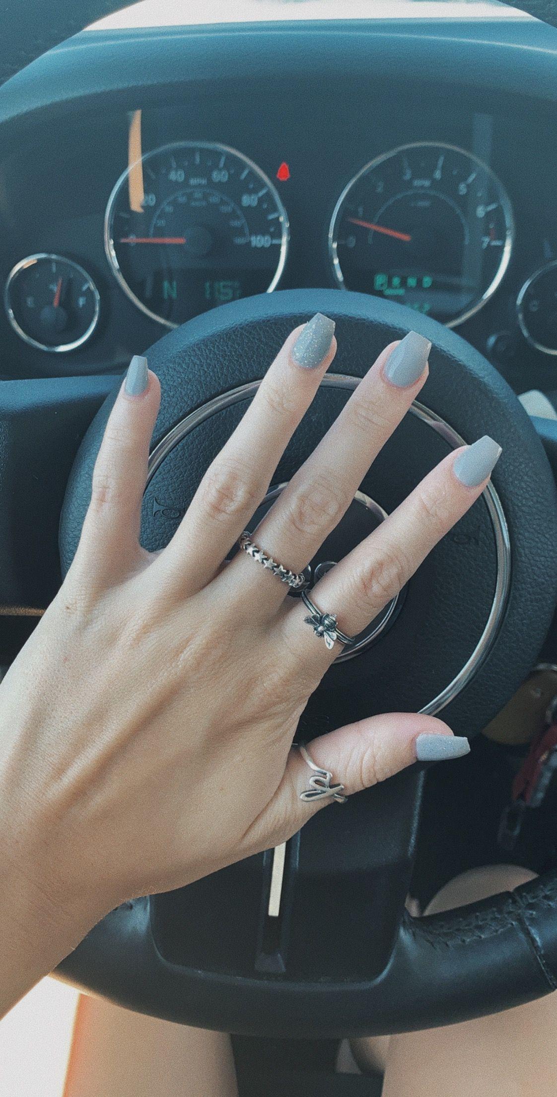 Grey Nails Grey Acrylic Nails Short Acrylic Nails Acrylic Nails Coffin Glitter