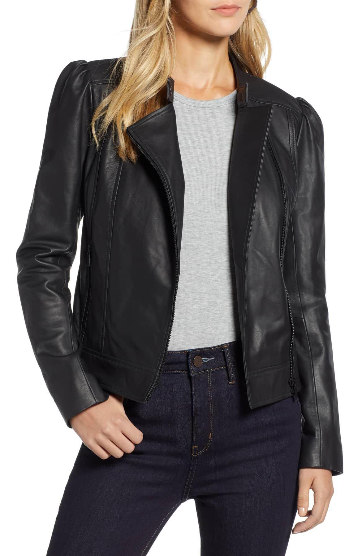 Halogen® Leather Jacket (Regular & Petite Leather jacket