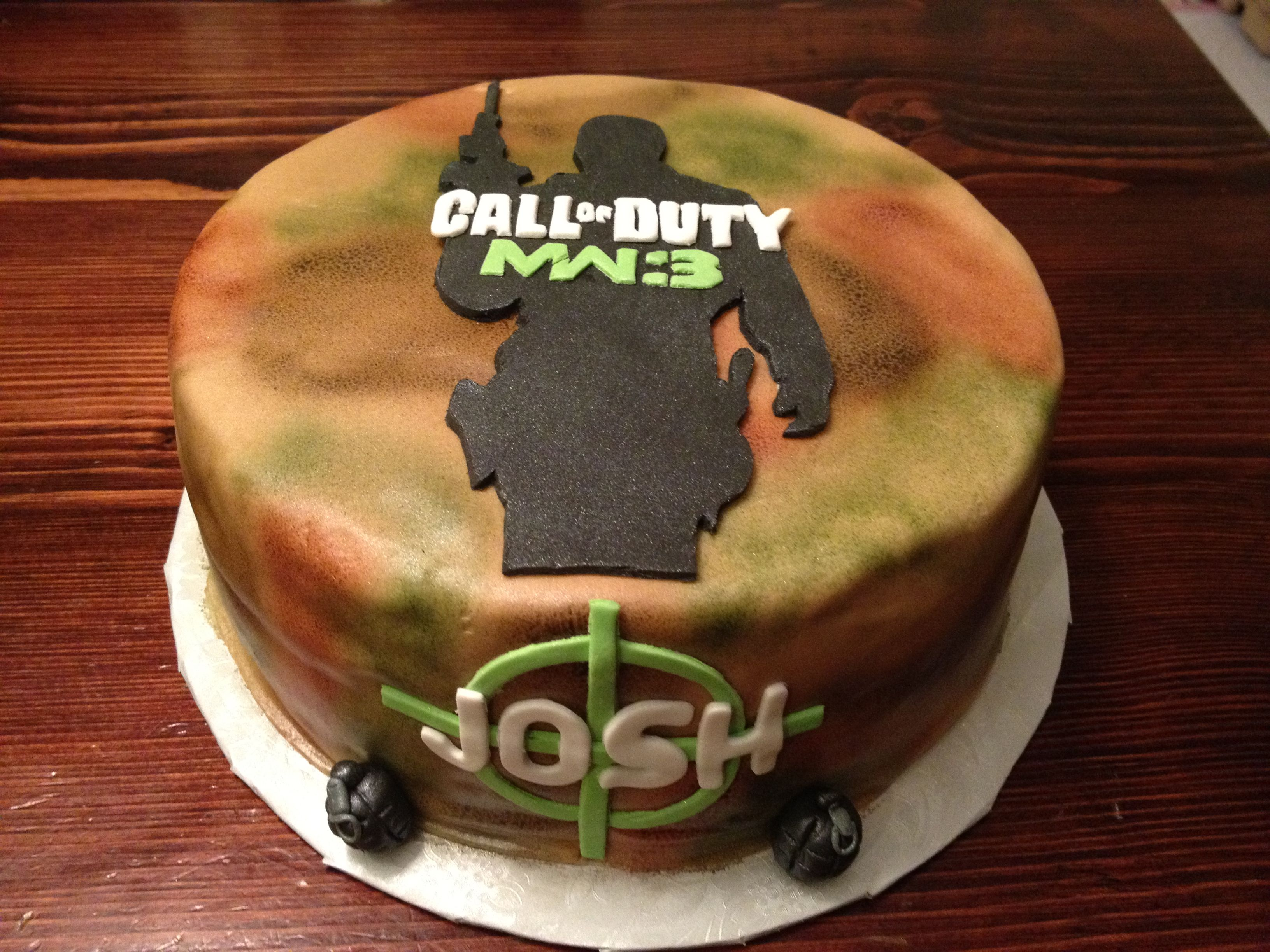 Call of Duty cake with my son's name.