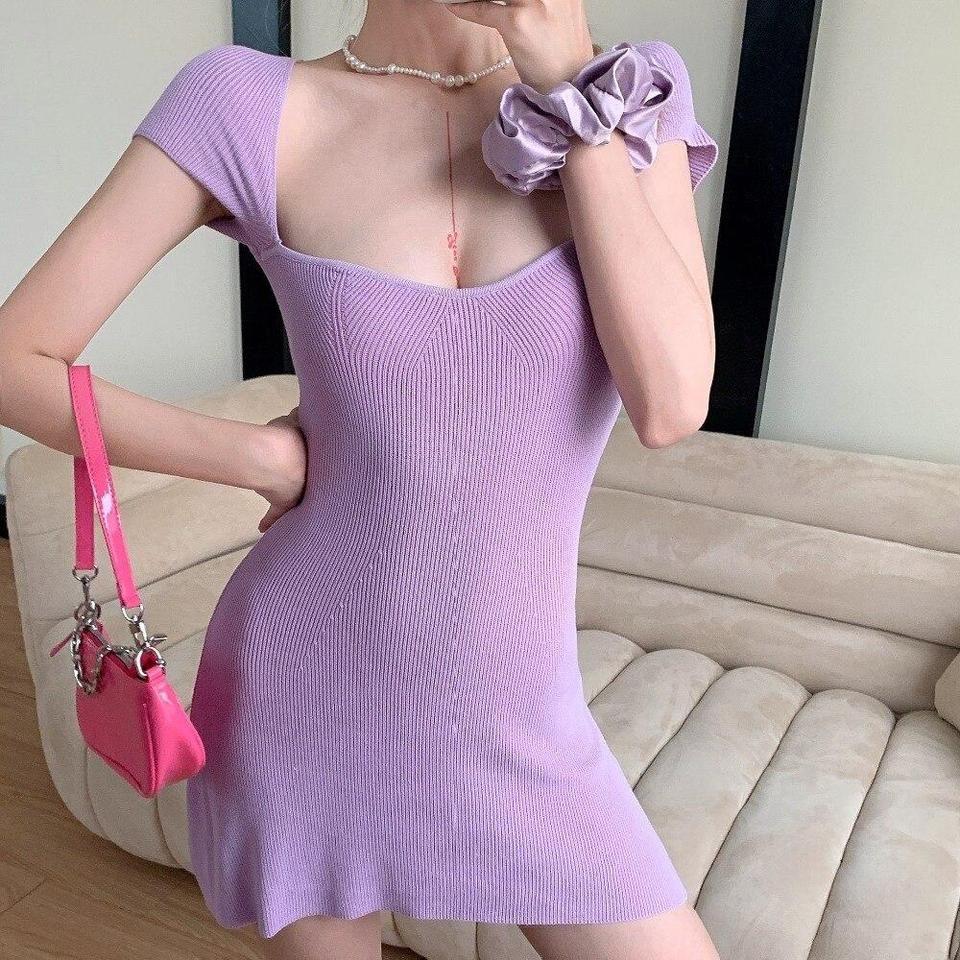 Indie Softie Girl Knitted Mini Dress Knit Mini Dress Purple Mini Dresses Aesthetic Clothing Stores [ 960 x 960 Pixel ]