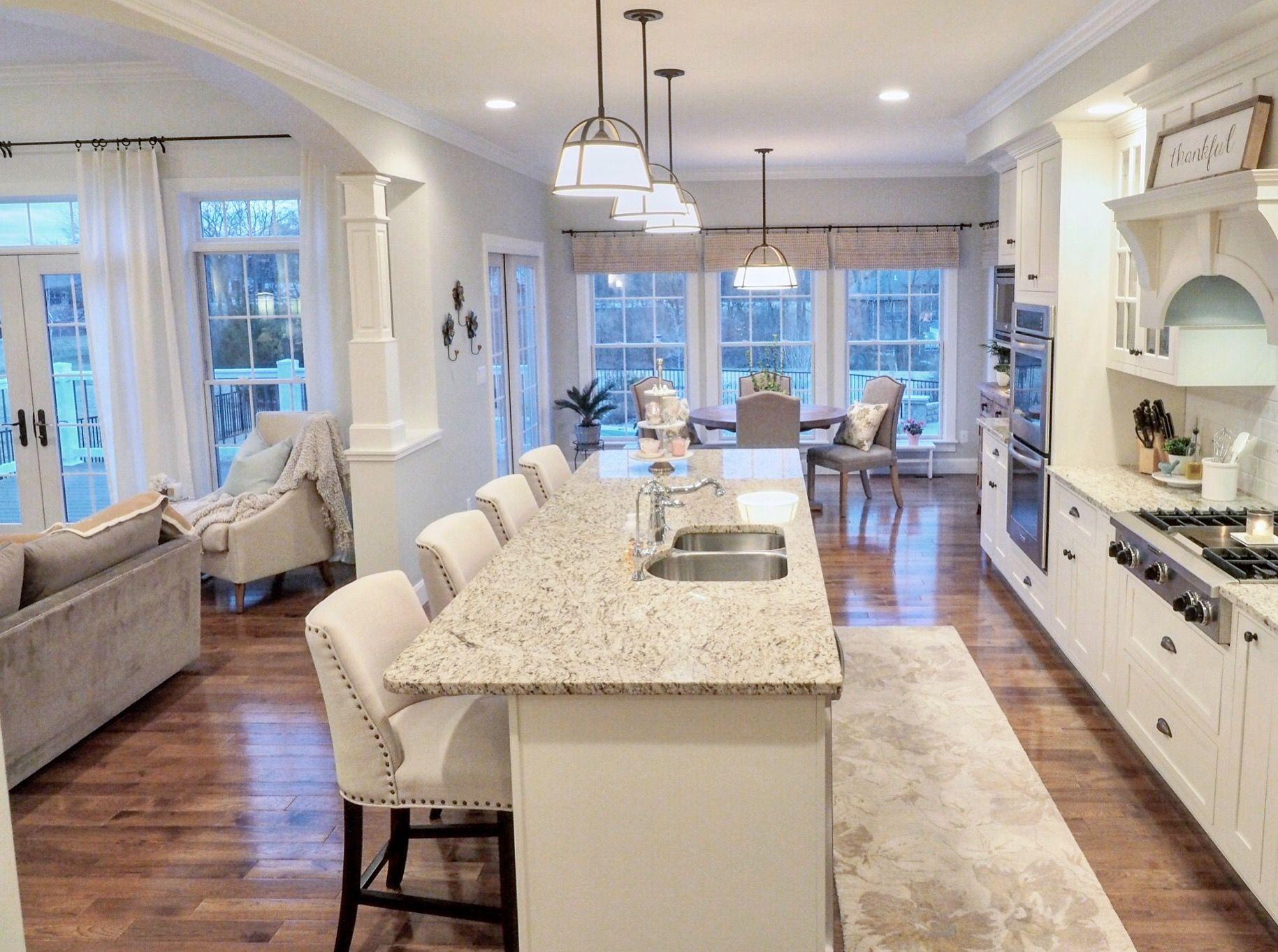 Kitchen White Kitchen Off-white cabinets Open layout Open ...