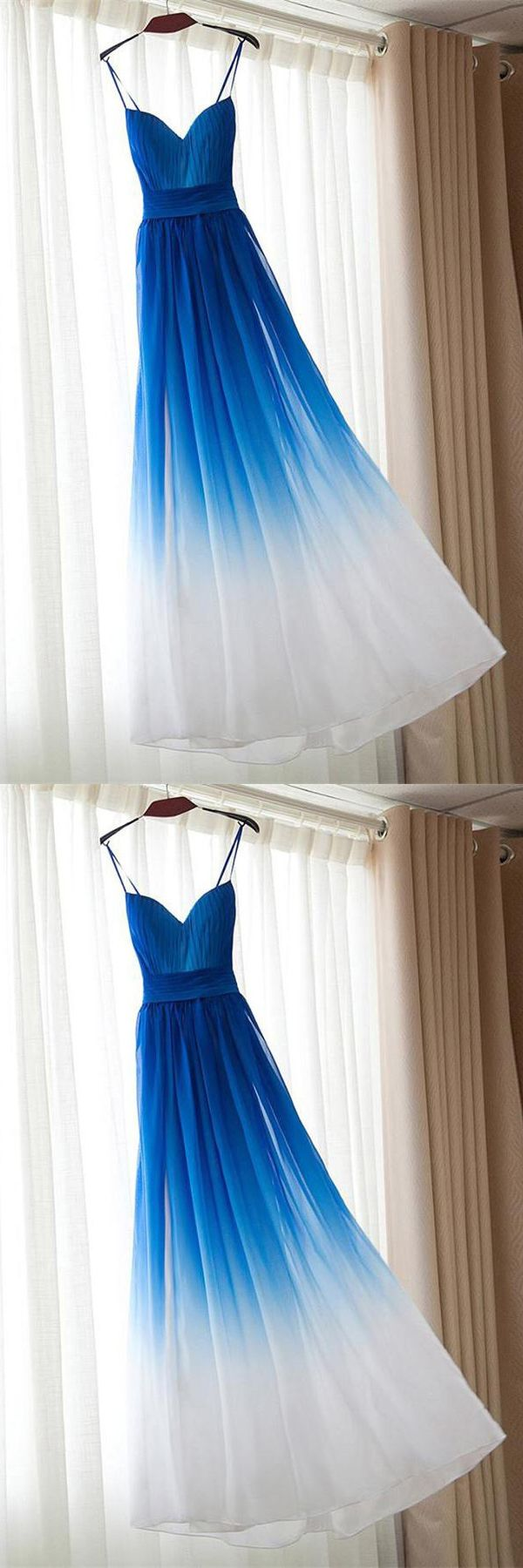 Spaghetti straps long prom dressesroyal blue and white prom dress