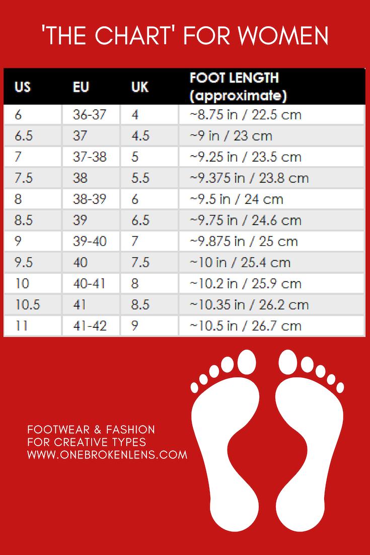 Women S Shoe Size Chart Footwear Size Guide Shoe Size Chart