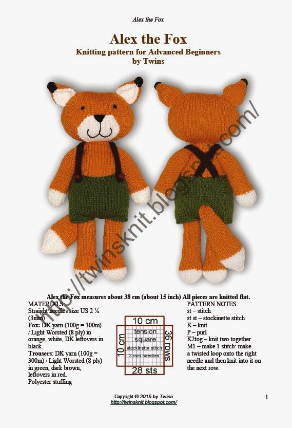 Knitted Fox Knitting Knellie Pinterest Foxes Knitting