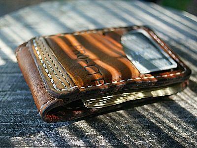 Custom Magnetic Bi fold Wallet Built From Old Baseball Gloves-Vvego https://www.facebook.com/Vvego.International/  #baseball #edc #customleather #wallet #coolwallet   Find Us On Instagram @vvegogear