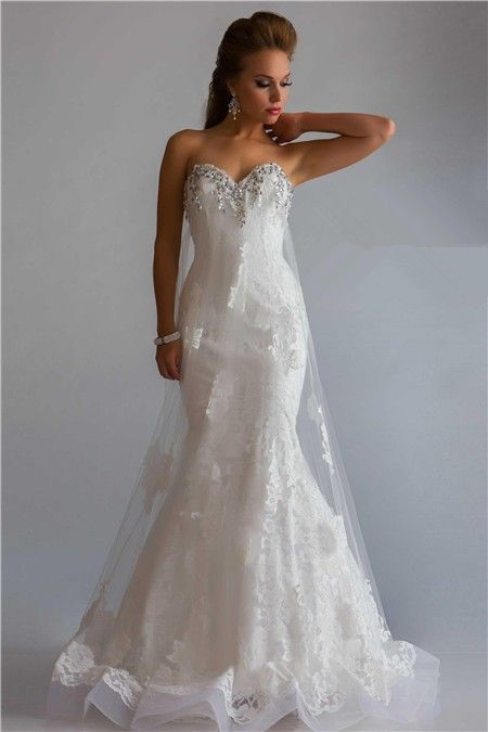 Princess Mermaid Sweetheart Low Back Long White Lace Tulle Beaded ...