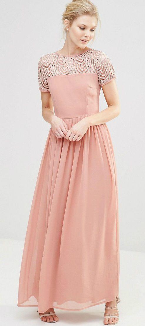 Embellished top blush bridesmaid dress | Blush bridesmaid ...