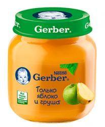 """ГЕРБЕР пюре яблоко, груша с 5 мес 130г  — 81р. ----------------- Gerber предлагает фруктовые пюре из нескольких компонентов.   Они вносят необходимое разнообразие в рацион малыша и прекрасно подходят для плавного расширения меню. Фруктовое пюре Gerber """"Яблоко и груша"""" приготовлено из натуральных фруктов, богато витаминами, органическими кислотами и пектинами. Нежная консистенция помогает научиться глотать более густую пищу, а специальный способ производства пюре Gerber позволяет сохранить…"""
