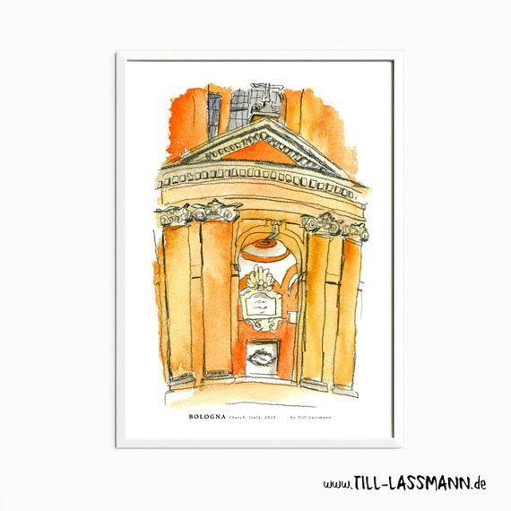 Bologna * Italy * Church * Poster * Architectural Drawing * Mediterran * Fine…