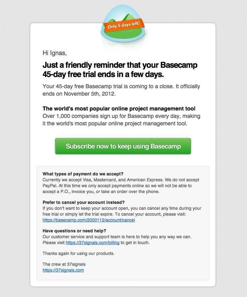 Basecamp Trial Expires Email | Transactional Emails | Pinterest