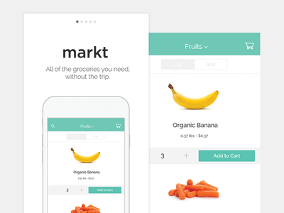 Mobile Grocery Delivery Design, Flat et Applications
