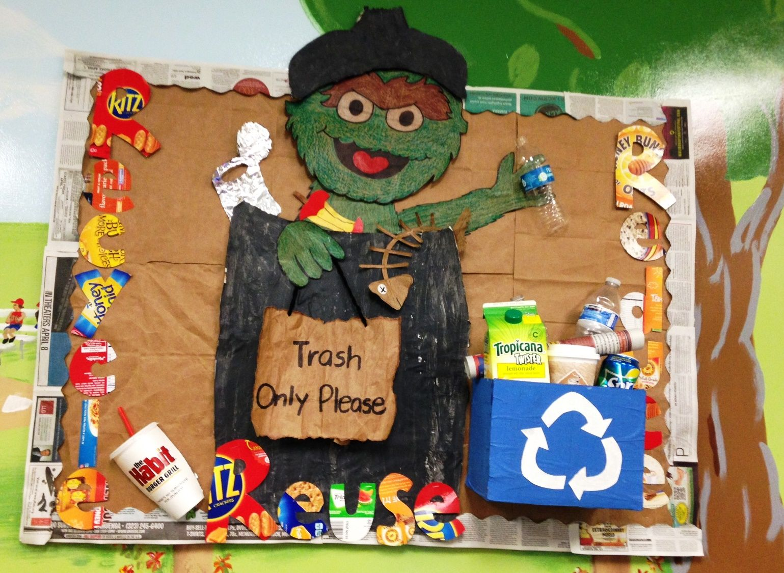 Recycle Board Reduce Reuse Trash Vs Recycle