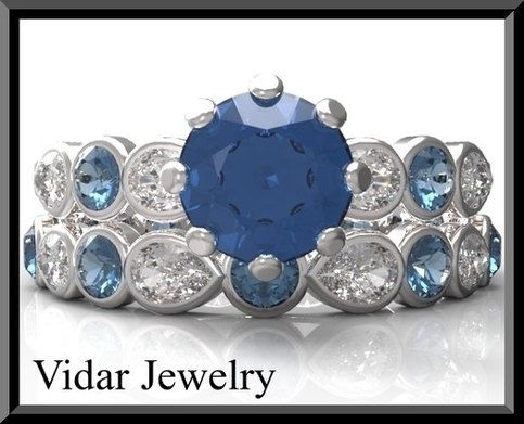 welcome+to+Vidar+Jewelry+by+Roi+Avidar!+specializing+in+custom+diamond+&+gemstone,+engagement+rings+&+wedding+rings+sets.    +surprise+her+with+this+amazing+blue+and+white+sapphire+engagement+ring+set!    +**we+can+customize+this+ring+to+be+in+other+gemstone+e.g.+diamond,+ruby,+emerald,+topaz,+et...