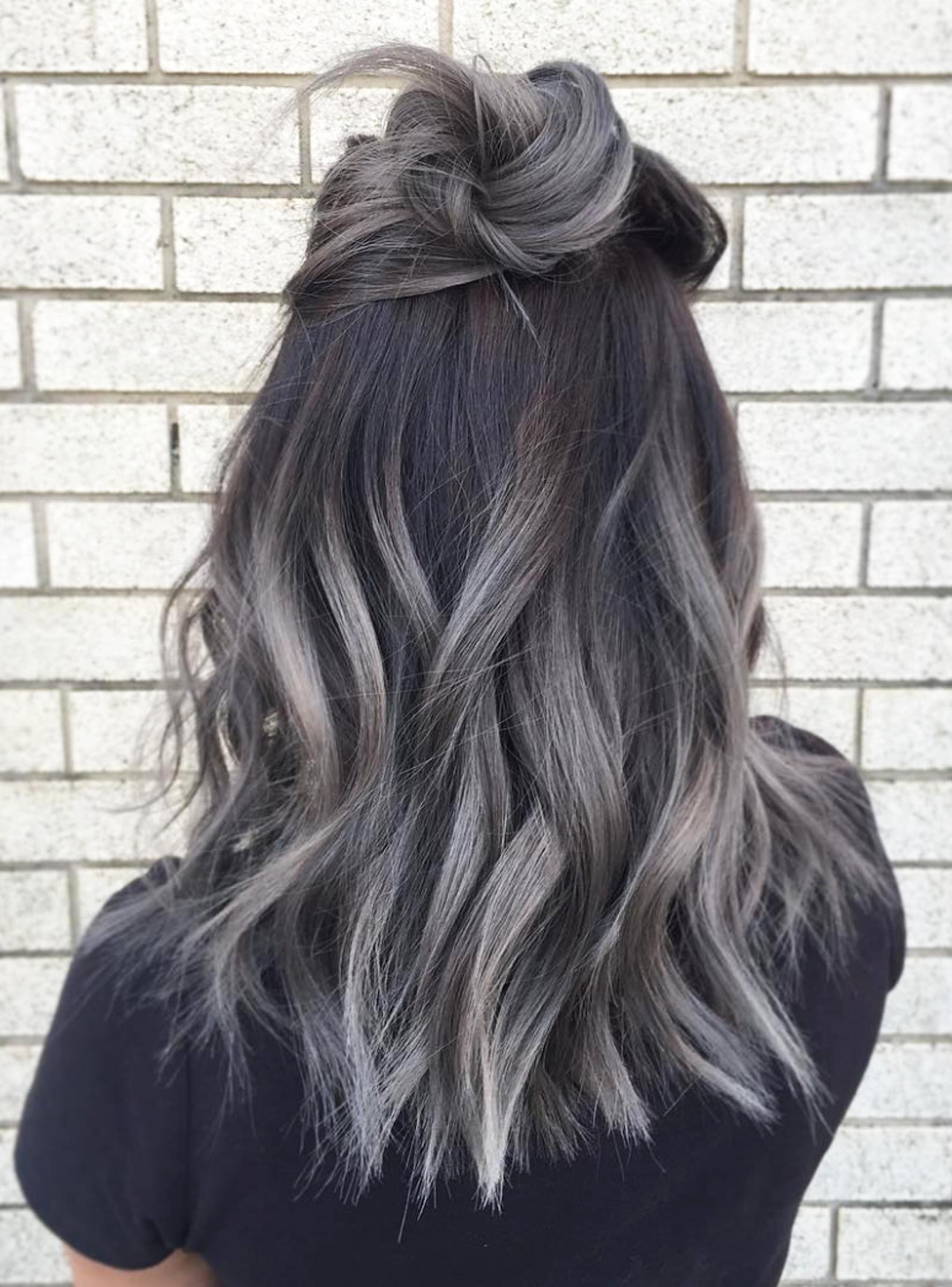 Balayage Hair Grey, Gray Hair Ombre, Dark Hair Grey Highlights, Grey Dyed  Hair